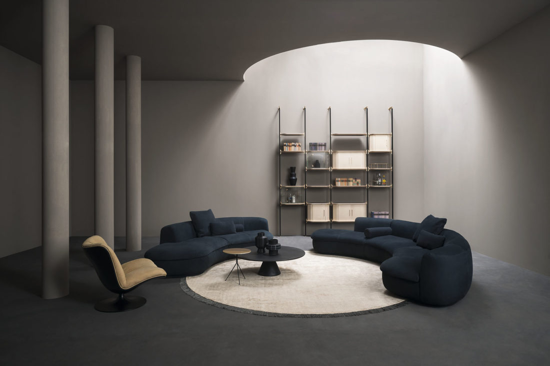 sofa mod. PIAF + armchair mod. MARILYN + bookshelves mod. LIBELLE